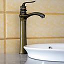 billige Kornpærer med LED-Antikk Vannrett Montering Keramisk Ventil Enkelt Håndtak Et Hull Antikk Messing, Baderom Sink Tappekran