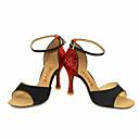 baratos Sapatos de Dança Latina-Mulheres Sapatos de Dança Latina / Sapatos de Salsa Glitter / Seda Sandália / Salto Presilha / Cadarço de Borracha Salto Personalizado Personalizável Sapatos de Dança Preto / Prateado / Vermelho