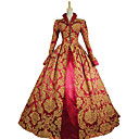 cheap Historical & Vintage Costumes-Queen Elizabeth Vintage Rococo Victorian Costume Women's Dress Party Costume Masquerade Red Vintage Cosplay Lace Satin Cotton Long Sleeve Poet Sleeve Long Length Halloween Costumes / Floral