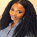 Недорогие Парики для косплея аниме-человеческие волосы Remy Бесклеевая сплошная кружевная основа Полностью ленточные Парик стиль Бразильские волосы Kinky Curly Парик 130% Плотность волос / Природные волосы / 100% ручная работа