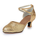 cheap Latin Shoes-Women's Latin Shoes / Modern Shoes Paillette / Leatherette Heel Sequin Chunky Heel Non Customizable Dance Shoes Gold / Silver / Indoor