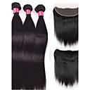 billige Hairextension med naturlig farge-4 pakker Brasiliansk hår Rett Menneskehår Vevet Hårvever med menneskehår Hairextensions med menneskehår