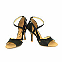 cheap Latin Shoes-Women's Latin Shoes / Salsa Shoes Leather / Leatherette Sandal / Heel Buckle / Ribbon Tie Customized Heel Customizable Dance Shoes Black / Yellow / Red / Performance / Professional
