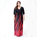 cheap Religious Jewelry-sweet curve Women's Plus Size Boho Swing Dress - Abstract Print Maxi V Neck