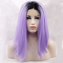 billige Syntetiske parykker med blonde-Syntetisk blonder foran parykker Rett Syntetisk hår Naturlig hårlinje Lilla Parykk Dame Blonde Forside