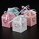 cheap Practical Favors-Round Square Cuboid Pearl Paper Favor Holder with Ribbons Printing Favor Boxes - 25