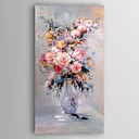 cheap Oil Paintings-Hand-Painted  Impression Flower in Vase Canvas Oil Painting With Stretcher For Home Decoration Ready to Hang
