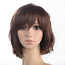 cheap Synthetic Capless Wigs-Synthetic Wig Curly Style Bob Capless Wig Brown Auburn Synthetic Hair Women's With Bangs Brown Wig Medium Length Natural Wigs