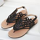 baratos Corretivos & Contornos-Mulheres Sapatos Flanelado / Couro Ecológico Verão Conforto / Chanel / Solados com Luzes Sandálias Caminhada Sem Salto Dedo Aberto