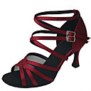 cheap Latin Shoes-Women's Latin Shoes / Jazz Shoes / Salsa Shoes Satin / Leatherette Sandal / Heel Sequin / Buckle Customized Heel Customizable Dance Shoes