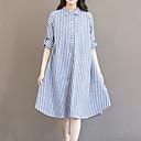 cheap Shoulder Bags-Women's Fine Stripe Plus Size Daily / Going out / Weekend Asymmetrical Loose Dress - Striped Shirt Collar Cotton Blue XL XXL XXXL
