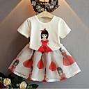 preiswerte Modische Uhren-Mädchen Kleidungs Set Alltag Baumwolle Kunstseide Sommer Kurzarm Weiß