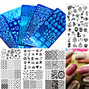 cheap Nail Stamping-1pcs new colorful image fashion plate love heart flower design nail stainless steel stamping plate nail diy tool manicure beauty xy z11 20