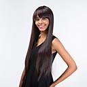 billige Hårstykker-Human Hair Capless Parykker Rett Med lugg Syntetisk hår Side del Brun Parykk Dame Lang / Veldig lang Lokkløs Mørkebrun MAYSU