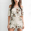cheap Manicure & Pedicure Tools-Women's Holiday / Going out Boho Boat Neck White Romper, Floral Backless M L XL Half Sleeve Summer Fall