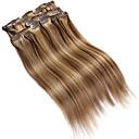 abordables Extensiones de Cabello con Clip-Con Clip Extensiones de cabello humano Recto Extensiones Naturales Cabello humano Mujer