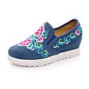 baratos Mocassins Femininos-Mulheres Sapatos Lona Primavera / Outono Conforto Rasos Sem Salto Bege / Vermelho / Azul