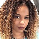 billige Moderne sko-Remy-hår Halvblonder uten lim / Blonde Forside Parykk Kinky Curly Nyanse Parykk 130% Ombre-hår / Naturlig hårlinje / Afroamerikansk parykk Nyanse Dame Kort / Medium Lengde / Lang Blondeparykker med