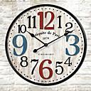 abordables Relojes Rústicos de Pared-Tradicional Campestre Retro Floral/ Botánico Personajes Música Reloj de pared,Redondo Interior /Exterior Reloj