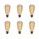 billige Glødelampe-Ecolight™ 6pcs 40W E26 / E27 ST64 2300k Glødende Vintage Edison lyspære 220-240V