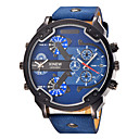 cheap Military Watches-Men's Quartz Wrist Watch / Military Watch / Sport Watch Calendar / date / day / Large Dial / Punk / Cool / Dual Time Zones Leather Band