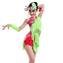 baratos Roupas de Dança Latina-Dança Latina Vestidos Espetáculo Fibra de Leite Mocassim / Cristal / Strass Sem Manga Natural Vestido / Luvas / Decoração de Cabelo