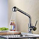 povoljno Slavine za umivaonik-Kuhinja pipa - Jedan Ručka jedna rupa Chrome Pull-out / Pull-down / Standardna lijevak / Visok / High Arc Središnje pozicionirane Suvremena / Art Deco / Retro / Moderna Kitchen Taps