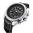 levne Vojenské hodinky-MEGIR Pánské Náramkové hodinky Křemenný Kůže Černá / Hnědá 30 m Kalendář Analogové Klasické Vintage - Černá Černá Bílá / Béžová