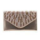 baratos Clutches & Bolsas de Noite-Mulheres Bolsas PU Bolsa de Mão / Dobra Tripla Cristal / Strass Preto / Prata / Café