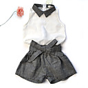 cheap Party Headpieces-Toddler Dresswear Daily / Sports / Going out Color Block Sleeveless Regular Linen Clothing Set White