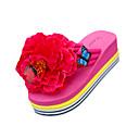 ieftine Flip-Flops de Damă-Pentru femei Pantofi PU Vară Papuci & Flip-flops Toc Drept Vârf rotund Flori Negru / Galben / Fucsia
