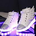 tanie Obuwie dziewczęce-Dla chłopców Obuwie PU Wiosna Wygoda / Nowość / Świecące buty Adidasy Spacery Sznurowane / Tasiemka / LED na Biały / Czarny
