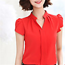 cheap Synthetic Capless Wigs-Women's Going out / Work Street chic Shirt - Solid Colored V Neck / Spring / Summer