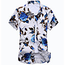 baratos Adesivos de Parede-Homens Camisa Social - Praia Boho Estampado, Floral Algodão Colarinho Clássico Delgado / Manga Curta
