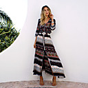 cheap Practical Favors-Women's Plus Size Holiday / Beach Boho Cotton Tunic Dress - Graphic Split / Print Maxi V Neck / Summer