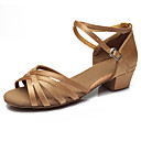 cheap Latin Shoes-Women's Latin Shoes Leatherette / Fabric Sandal Buckle Low Heel Customizable Dance Shoes Camel / Leopard / Dark Brown / Performance