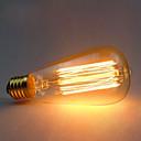 baratos Incandescente-1pç 60 W E26 / E27 ST64 Branco Quente 2300 k Retro / Decorativa Incandescente Vintage Edison Light Bulb 220-240 V