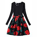 זול שמלות לבנות-שמלה פוליאסטר אביב סתיו שרוול ארוך הילדה של פרחוני שחור