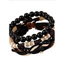 cheap Men's Bracelets-Men's Women's Wrap Bracelet - Leather Vintage, Punk Bracelet Black For Party
