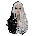 cheap Synthetic Capless Wigs-the european and american fashion daily double long curly hair party cos wig black and white 1408 Halloween