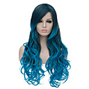 cheap Synthetic Lace Wigs-the european and american fashion daily blue gradient long wig party cos 1400 Halloween