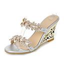 baratos Sandálias Femininas-Mulheres Sapatos Sintético Verão / Outono Chanel Sandálias Salto Plataforma Ponta Redonda Pedrarias Dourado / Prata