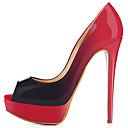 abordables Sandalias de Mujer-Mujer Zapatos PU Primavera / Otoño Zapatos del club Tacones Tacón Stiletto Punta abierta Azul / Almendra / Borgoña / Boda