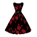 cheap Girls' Clothing Sets-Women's Floral Party / Daily Vintage A Line Dress - Floral Print Black XL XXL XXXL