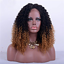 cheap Party Headpieces-Remy Human Hair Full Lace Wig Kinky Curly Wig 180% Ombre Hair / Natural Hairline / African American Wig Women's Short / Medium Length / Long Human Hair Lace Wig / 100% Hand Tied