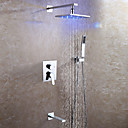 billige Uttrekkbar Spray-Moderne Vægmonteret Regndusj Hånddusj Inkludert LED Keramisk Ventil To Håndtak fire hull Krom , Dusjkran