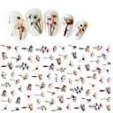 billige Negleklistremerker-1 pcs Klistremerker & Tape / Nail Sticker Blomst / 3D / Nail Decals Nail Art Design