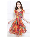 cheap Bakeware-Women's Plus Size Going out Sophisticated Skater Dress - Rainbow Print / Summer