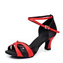 preiswerte Küchengeräte-Damen Schuhe für den lateinamerikanischen Tanz Paillette / Leder Absätze Glitter / Farbaufsatz Maßgefertigter Absatz Keine Maßfertigung möglich Tanzschuhe Silber / Rot / Schwarz / Rot / Leistung