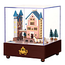 cheap Music Boxes-Music Box Square Castle Carriage Gift Rotating Kid's Adults Kids Gift Wood Unisex